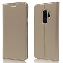 Ultra Slim Card Magnetic Automatic Suction Leather Wallet Case for Samsung Galaxy S9 Plus(S9+) - Champagne