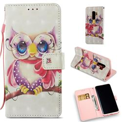 Cute Eyes Owl 3D Painted Leather Wallet Case for Samsung Galaxy S9 Plus(S9+)