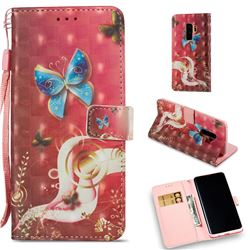 Sunrise Blue Butterfly 3D Painted Leather Wallet Case for Samsung Galaxy S9 Plus(S9+)