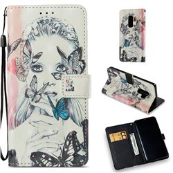 Girl and Butterfly 3D Painted Leather Wallet Case for Samsung Galaxy S9 Plus(S9+)
