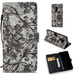 Black Ribbon Lace 3D Painted Leather Wallet Case for Samsung Galaxy S9 Plus(S9+)