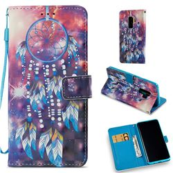 Dusk Feather Wind Chime 3D Painted Leather Wallet Case for Samsung Galaxy S9 Plus(S9+)