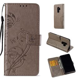 Embossing Butterfly Flower Leather Wallet Case for Samsung Galaxy S9 Plus(S9+) - Grey