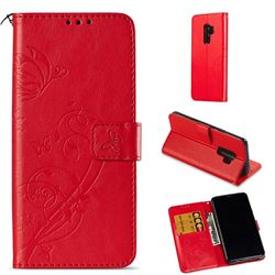 Embossing Butterfly Flower Leather Wallet Case for Samsung Galaxy S9 Plus(S9+) - Red