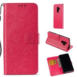 Embossing Butterfly Flower Leather Wallet Case for Samsung Galaxy S9 Plus(S9+) - Rose