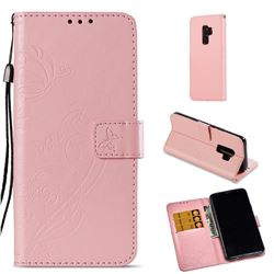 Embossing Butterfly Flower Leather Wallet Case for Samsung Galaxy S9 Plus(S9+) - Pink