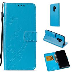 Embossing Butterfly Flower Leather Wallet Case for Samsung Galaxy S9 Plus(S9+) - Blue