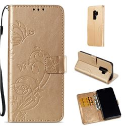 Embossing Butterfly Flower Leather Wallet Case for Samsung Galaxy S9 Plus(S9+) - Champagne