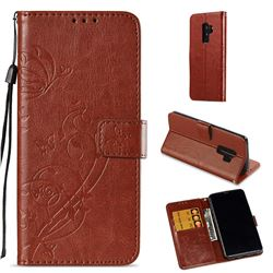 Embossing Butterfly Flower Leather Wallet Case for Samsung Galaxy S9 Plus(S9+) - Brown