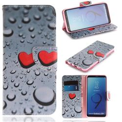 Heart Raindrop PU Leather Wallet Case for Samsung Galaxy S9 Plus(S9+)