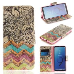 Wave Flower PU Leather Wallet Case for Samsung Galaxy S9 Plus(S9+)