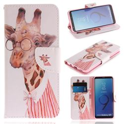 Pink Giraffe PU Leather Wallet Case for Samsung Galaxy S9 Plus(S9+)