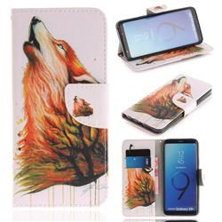 Color Wolf PU Leather Wallet Case for Samsung Galaxy S9 Plus(S9+)