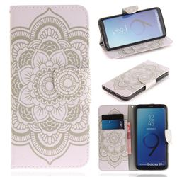 White Flowers PU Leather Wallet Case for Samsung Galaxy S9 Plus(S9+)