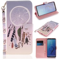 Wind Chimes Hand Strap Leather Wallet Case for Samsung Galaxy S9 Plus(S9+)