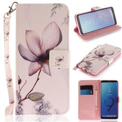 Magnolia Flower Hand Strap Leather Wallet Case for Samsung Galaxy S9 Plus(S9+)