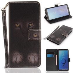 Mysterious Cat Hand Strap Leather Wallet Case for Samsung Galaxy S9 Plus(S9+)