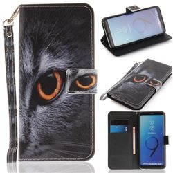 Cat Eye Hand Strap Leather Wallet Case for Samsung Galaxy S9 Plus(S9+)