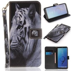White Tiger Hand Strap Leather Wallet Case for Samsung Galaxy S9 Plus(S9+)