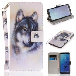 Snow Wolf Hand Strap Leather Wallet Case for Samsung Galaxy S9 Plus(S9+)