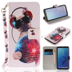 Fashion Dog Hand Strap Leather Wallet Case for Samsung Galaxy S9 Plus(S9+)