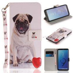 Pug Dog Hand Strap Leather Wallet Case for Samsung Galaxy S9 Plus(S9+)