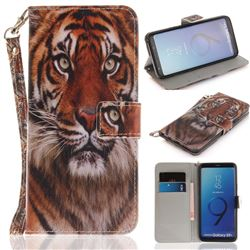 Siberian Tiger Hand Strap Leather Wallet Case for Samsung Galaxy S9 Plus(S9+)