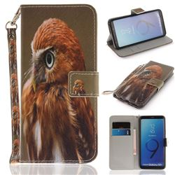Young Eagle Hand Strap Leather Wallet Case for Samsung Galaxy S9 Plus(S9+)