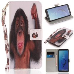 Cute Monkey Hand Strap Leather Wallet Case for Samsung Galaxy S9 Plus(S9+)