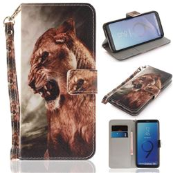 Majestic Lion Hand Strap Leather Wallet Case for Samsung Galaxy S9 Plus(S9+)