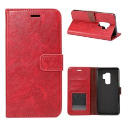 Retro Classic Smooth PU Leather Wallet Holster Case for Samsung Galaxy S9 Plus(S9+) - Red
