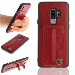 Retro Leather Coated Back Cover with Hidden Kickstand and Card Slot for Samsung Galaxy S9 Plus(S9+) - Red