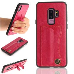 Retro Leather Coated Back Cover with Hidden Kickstand and Card Slot for Samsung Galaxy S9 Plus(S9+) - Rose