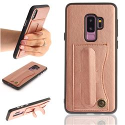 Retro Leather Coated Back Cover with Hidden Kickstand and Card Slot for Samsung Galaxy S9 Plus(S9+) - Rose Gold