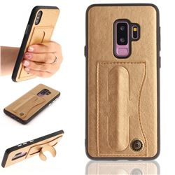 Retro Leather Coated Back Cover with Hidden Kickstand and Card Slot for Samsung Galaxy S9 Plus(S9+) - Golden