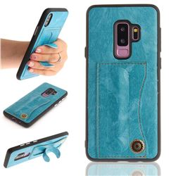 Retro Leather Coated Back Cover with Hidden Kickstand and Card Slot for Samsung Galaxy S9 Plus(S9+) - Sky Blue