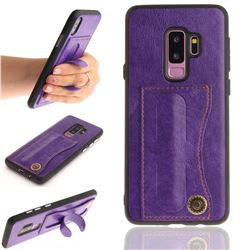 Retro Leather Coated Back Cover with Hidden Kickstand and Card Slot for Samsung Galaxy S9 Plus(S9+) - Purple