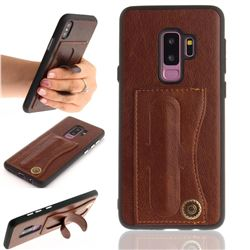 Retro Leather Coated Back Cover with Hidden Kickstand and Card Slot for Samsung Galaxy S9 Plus(S9+) - Coffee