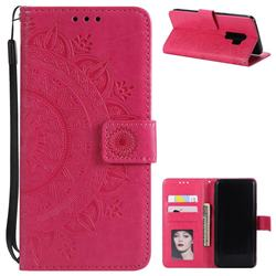 Intricate Embossing Datura Leather Wallet Case for Samsung Galaxy S9 Plus(S9+) - Rose Red