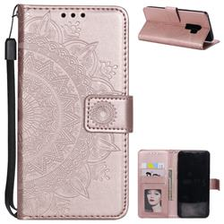 Intricate Embossing Datura Leather Wallet Case for Samsung Galaxy S9 Plus(S9+) - Rose Gold