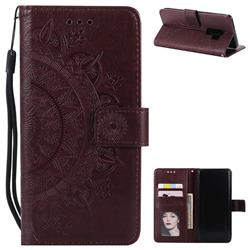 Intricate Embossing Datura Leather Wallet Case for Samsung Galaxy S9 Plus(S9+) - Brown