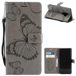Embossing 3D Butterfly Leather Wallet Case for Samsung Galaxy S9 Plus(S9+) - Gray
