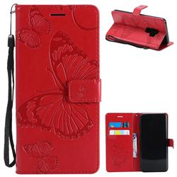 Embossing 3D Butterfly Leather Wallet Case for Samsung Galaxy S9 Plus(S9+) - Red