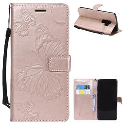 Embossing 3D Butterfly Leather Wallet Case for Samsung Galaxy S9 Plus(S9+) - Rose Gold
