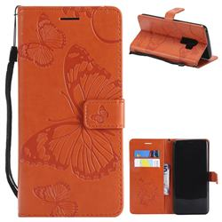 Embossing 3D Butterfly Leather Wallet Case for Samsung Galaxy S9 Plus(S9+) - Orange