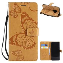 Embossing 3D Butterfly Leather Wallet Case for Samsung Galaxy S9 Plus(S9+) - Yellow