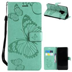 Embossing 3D Butterfly Leather Wallet Case for Samsung Galaxy S9 Plus(S9+) - Green