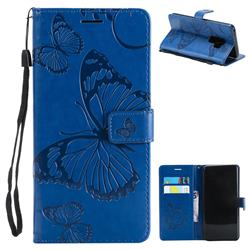 Embossing 3D Butterfly Leather Wallet Case for Samsung Galaxy S9 Plus(S9+) - Blue