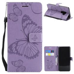 Embossing 3D Butterfly Leather Wallet Case for Samsung Galaxy S9 Plus(S9+) - Purple