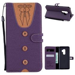 Ladies Bow Clothes Pattern Leather Wallet Phone Case for Samsung Galaxy S9 Plus(S9+) - Purple